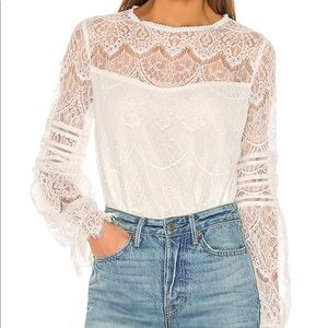 NWT BB Dakota Smoke and Mirrors Lace Blouse